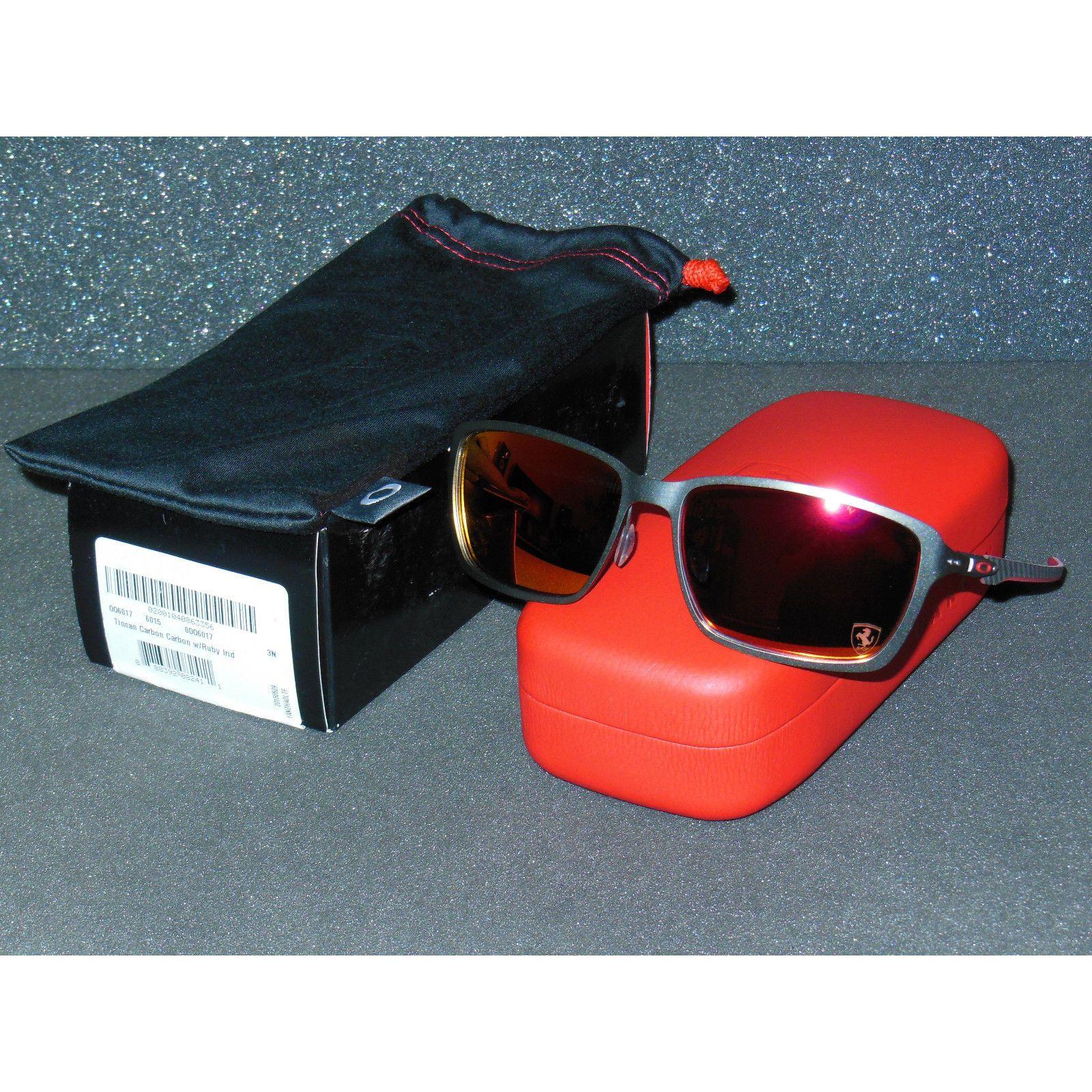 84e46ec7b3 New Oakley Tincan Carbon Ferrari Sunglasses Carbon Ruby Iridium Tin Can  Metal