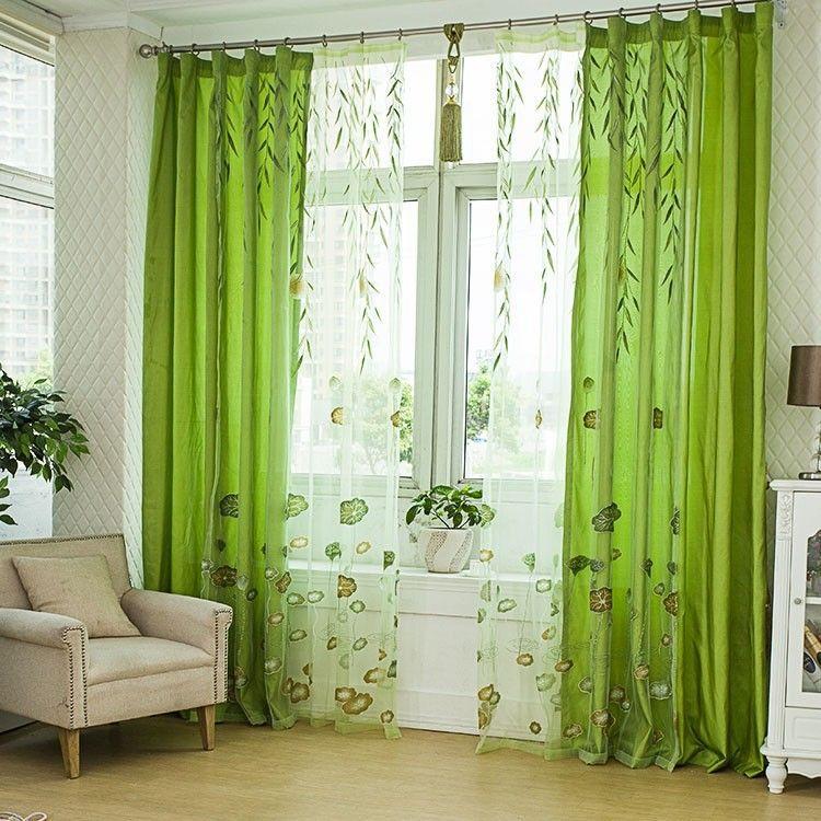 Cortinas verde con blanco buscar con google cortinas for Cortinas de tela para living