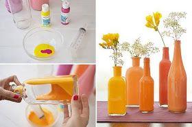 En el sector de  HÁGALO CON SU MANOS, aprenderán a colorear botellas de vidrio.   Una manera muy fácil de obtener una hermosas  botellas de...