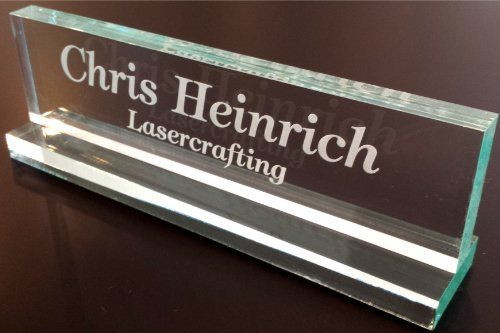 office desk name plate 1 2 glass like acrylic personalized