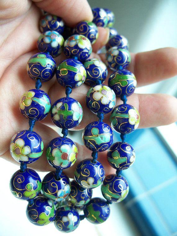 Antique Cloisonne Bead Chinese Necklace  Unusual Clasp Design