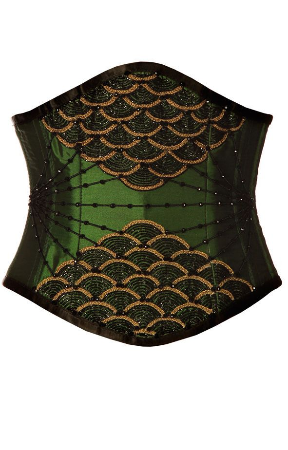 e3a49580f8 GREEN SATIN SCALLOP AND GEM EMBELLISHED UNDERBUST CORSET