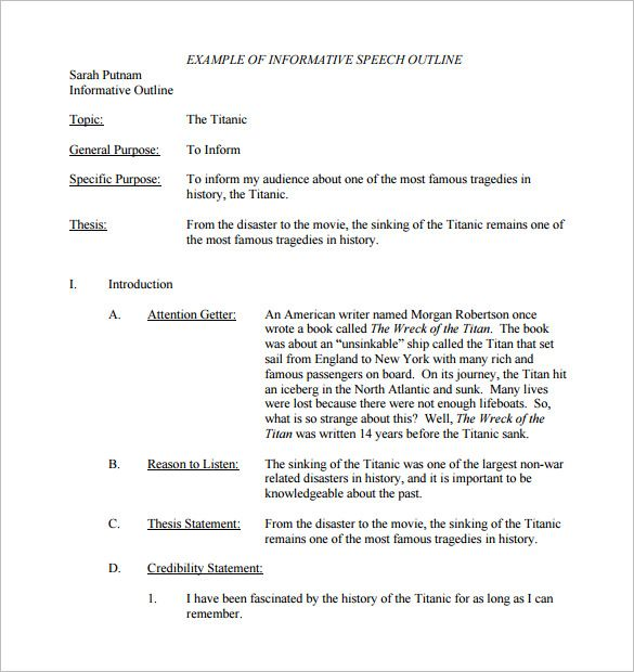 Informative Speech Outline Template  Template  Pinterest  Sample  Informative Speech Outline Template
