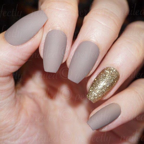 Dark Nude matte and gold glitter Handpainted False Nails Fake Nails ...