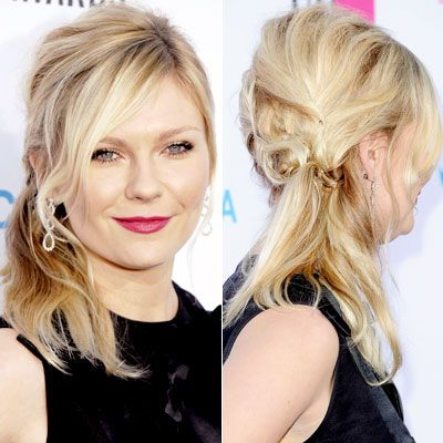 WHY WE LOVE IT: Kirsten Dunst's half up, half down style is a sweet alternative to formal updos. A loose, diagonal French braid adds subtle visual interest.