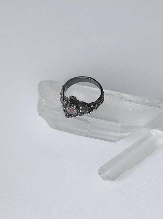 Tjärn / / Silber Ring roh Pyrit von raintower auf Etsy