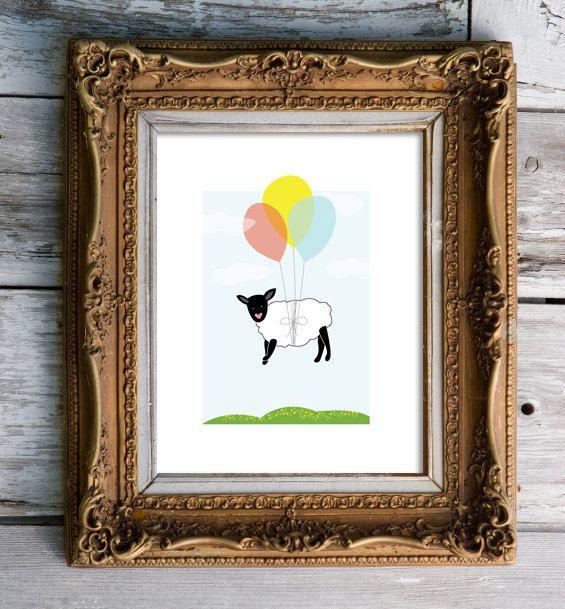 drifting to sheep   nursery art print by stellagirl on Etsy, $20.00