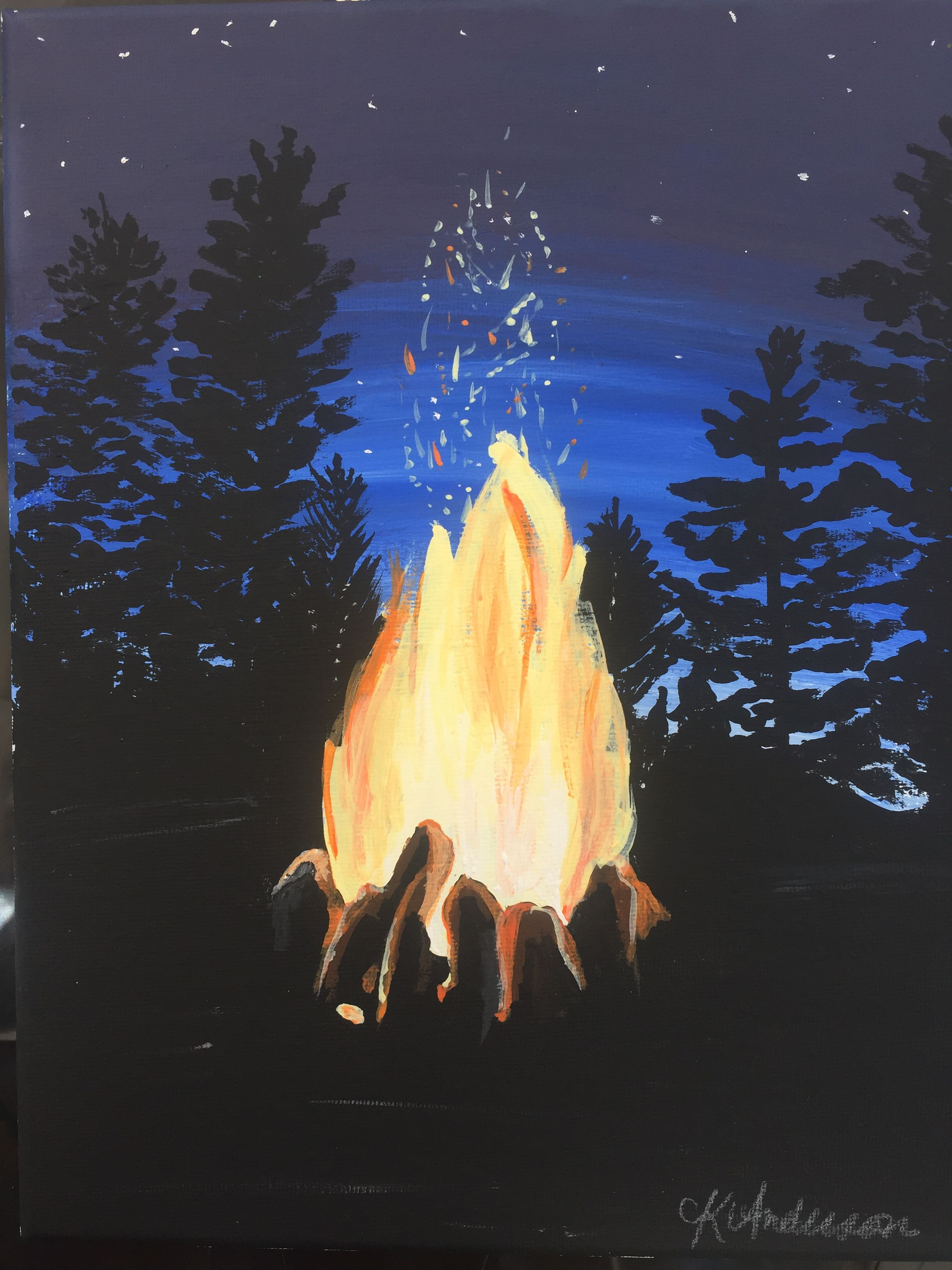 Campfire acrylic painting | Landscapes in 2019 | Painting ... Campfire Painting