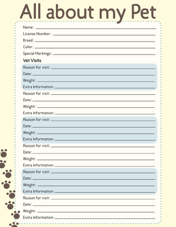 information vet records sheet helps keep track of your pet s