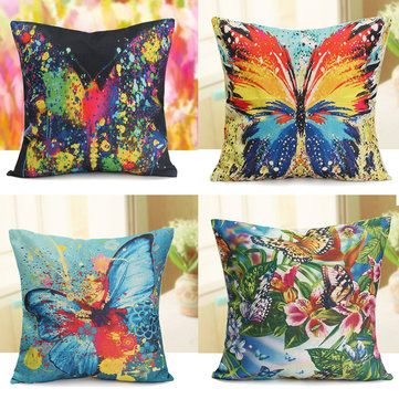 45x45CM Butterfly Cushion Cover Colorful Art Printed Throw