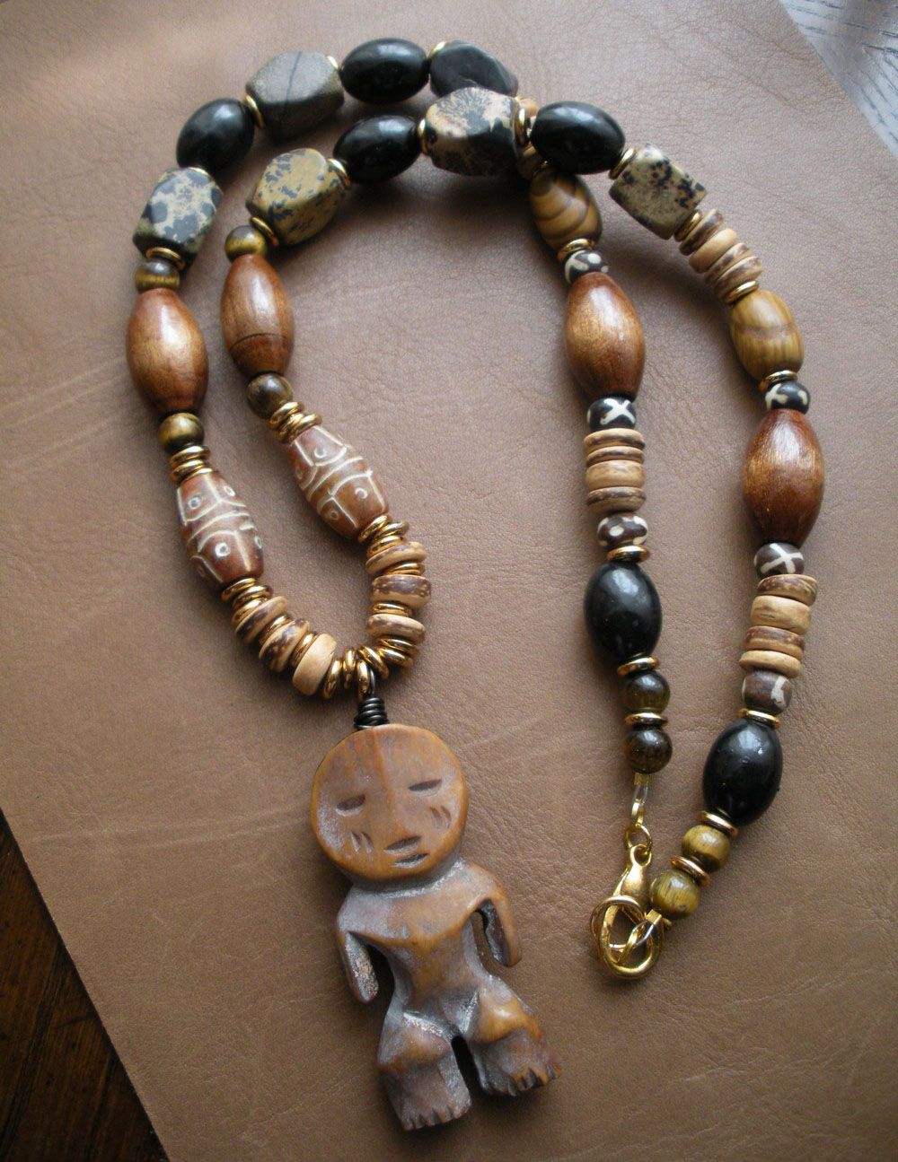 African Wooden Necklace Unisex Pendant Tribal Jewlerry