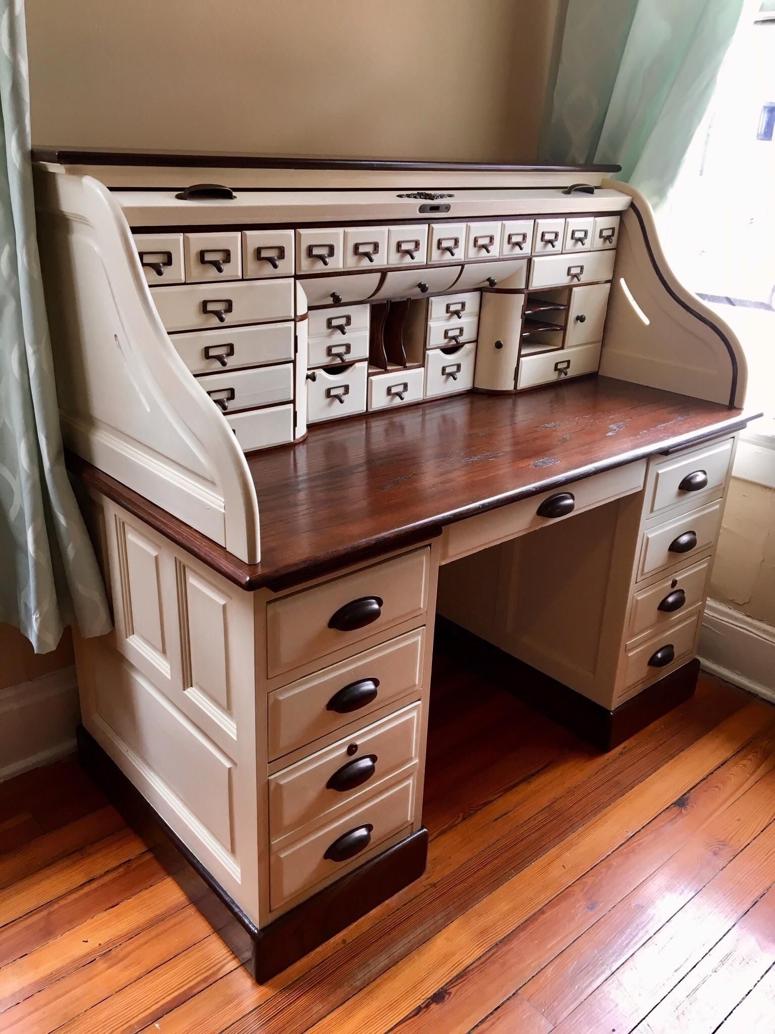 Oak Roll Top Desk After Refinishing And Some Minor Repairs Found For 100 On Fb Marketplace Thriftstorehauls Roll Top Desk Refurbished Desk Desk Furniture
