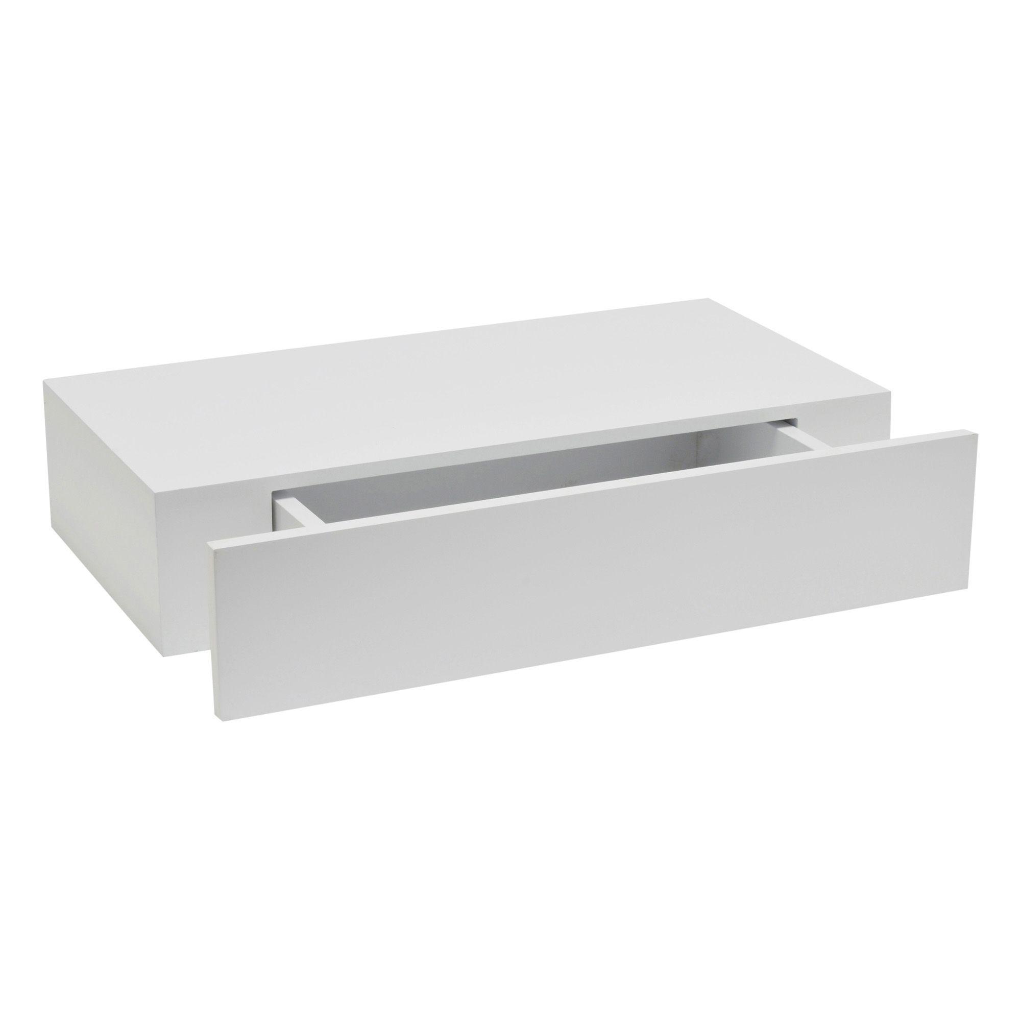 White Matt Floating drawer shelf L 480mm D 250mm
