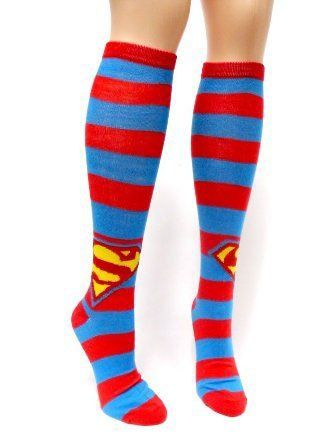 160a46630a5 Amazon.com  Superman Shield Stripes Knee High Socks  Clothing