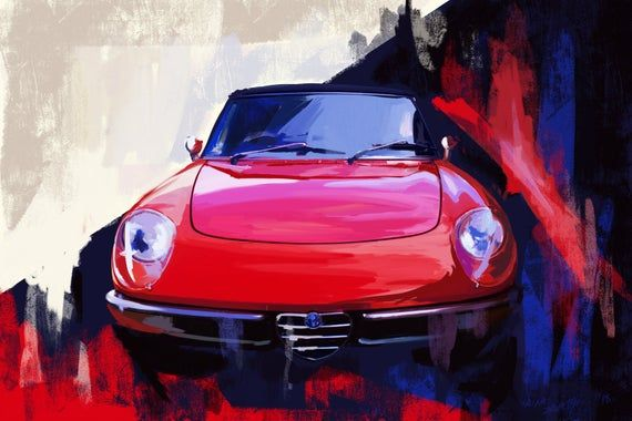 1967 Alfa Romeo Spider Classic Car painting.  large wall decor Canvas or archival print. Red sports car painting