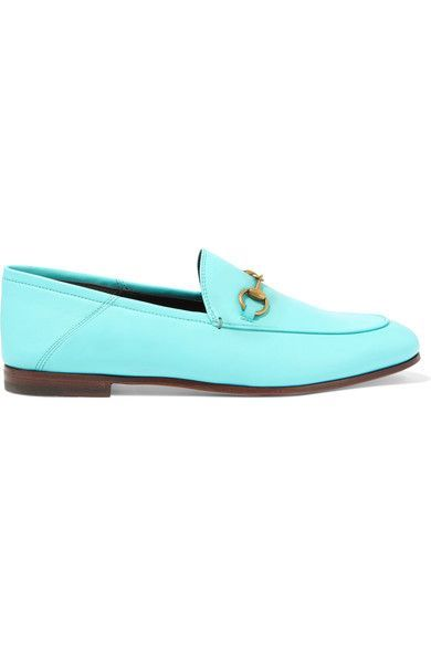 Gucci - Horsebit-detailed Collapsible-heel Leather Loafers - Light blue