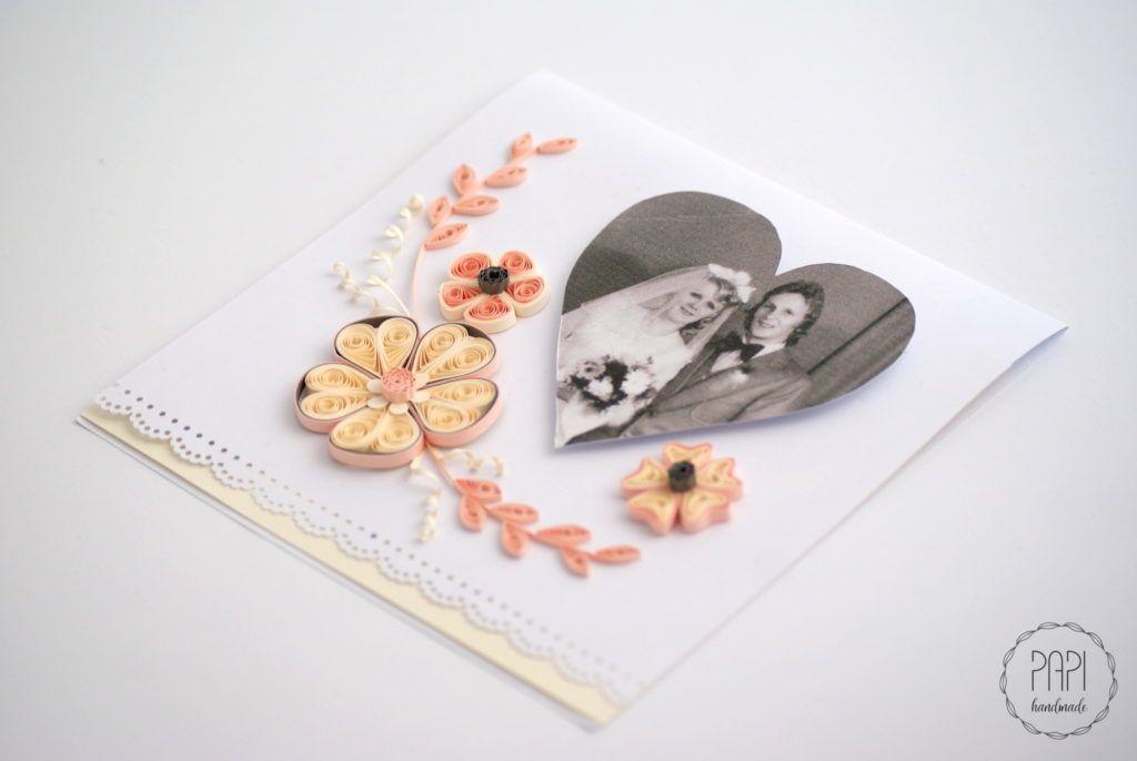 Jubileuszowa Kartka Ze Zdjeciem Kartki Recznie Robione Zaproszenia Slubne Handmade Poznan Quilling Patterns Quilling Cards Paper Quilling