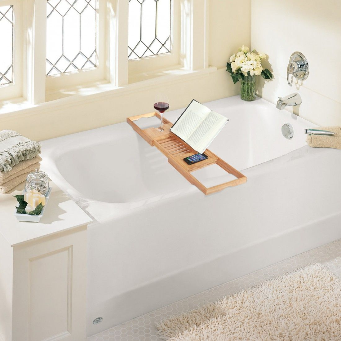 Bamboo table that stretches over your bath and gives you the ability ...