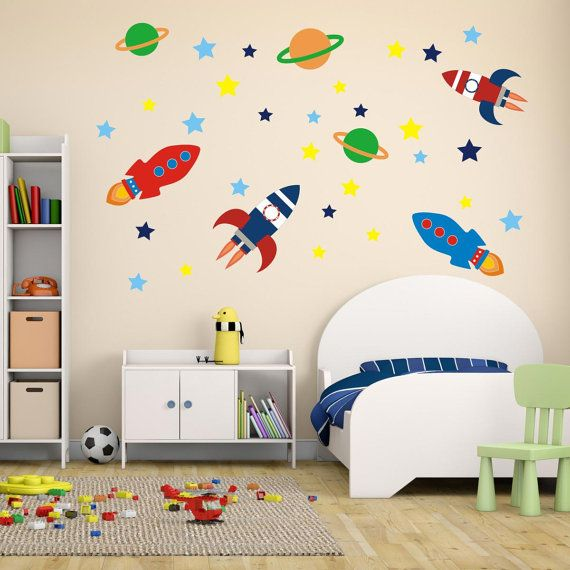 Boys Space Rockets Outer Space Wall Stickers Space Wall Decals