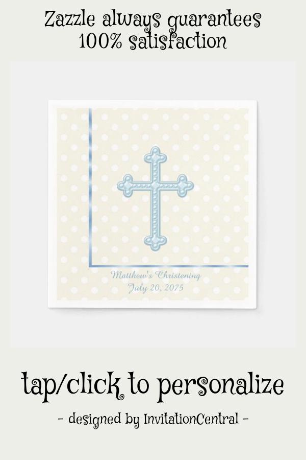 Elegant Cross Blue Christening Paper Napkins Zazzle Com Personalized Paper Napkins Christening Paper Napkins