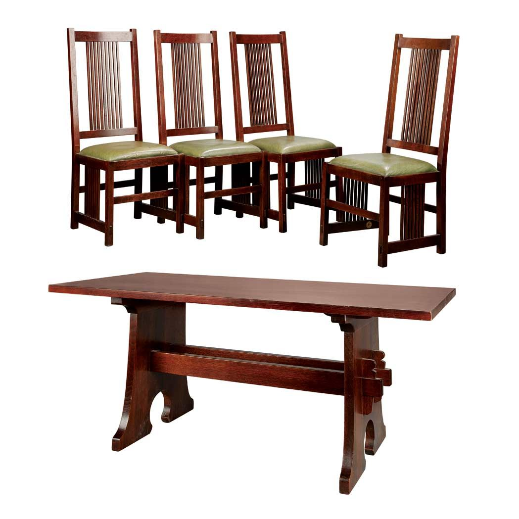 Peachy Contemporary Stickley Dining Table And Four Chairs Oak And Lamtechconsult Wood Chair Design Ideas Lamtechconsultcom