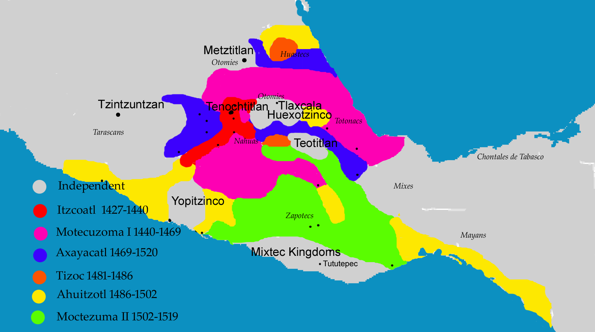A map of the Aztec empire The