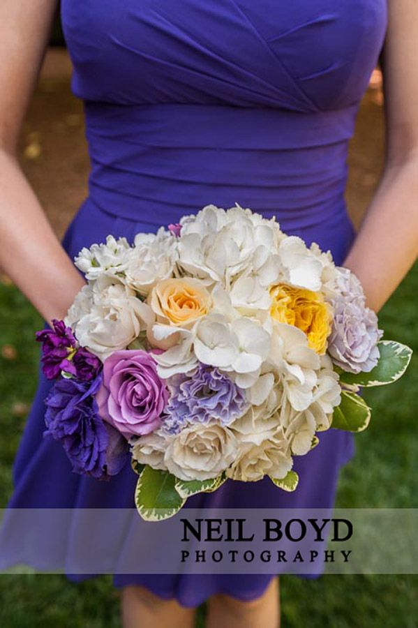 Purple Bridesmaid Dress With White Yellow And Flowers Raleigh Weddings Neil