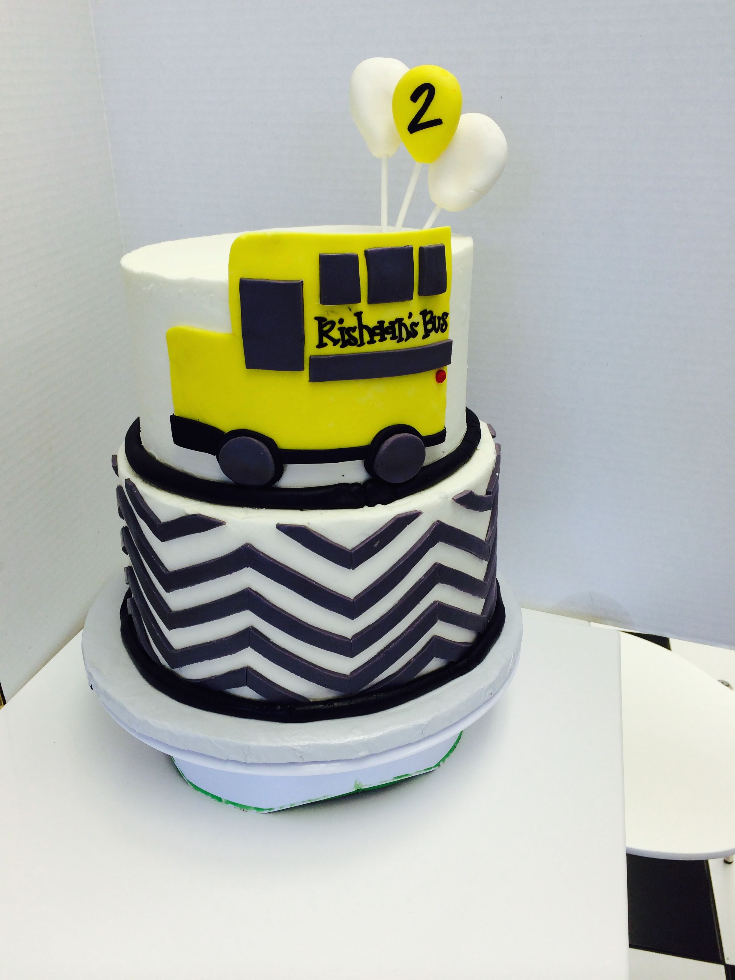 Chevron And School Bus Birthday Cake By Les Amis Bake Shoppe Baton