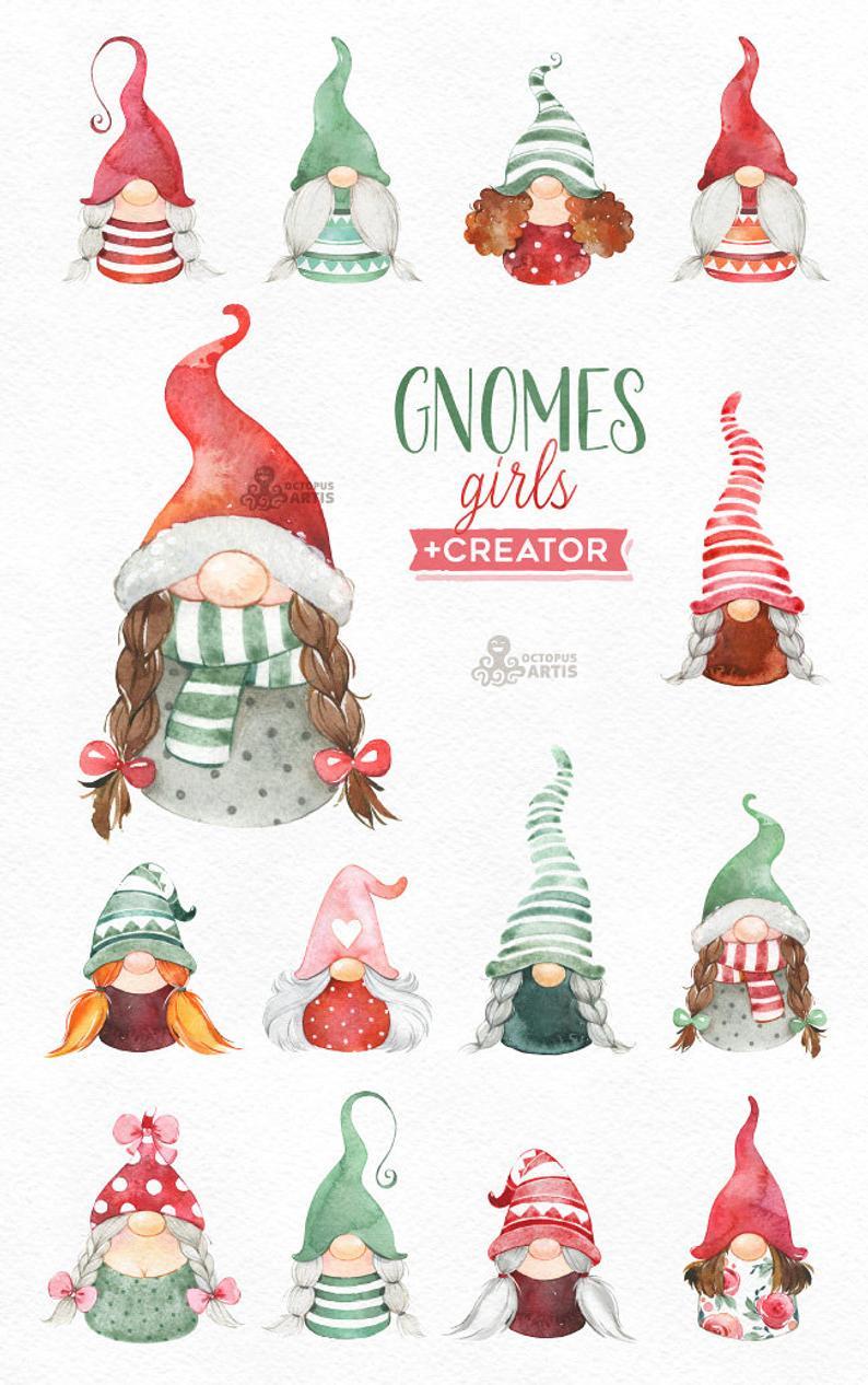 Gnomes Girls Creator. Watercolor holiday clipart Nordic
