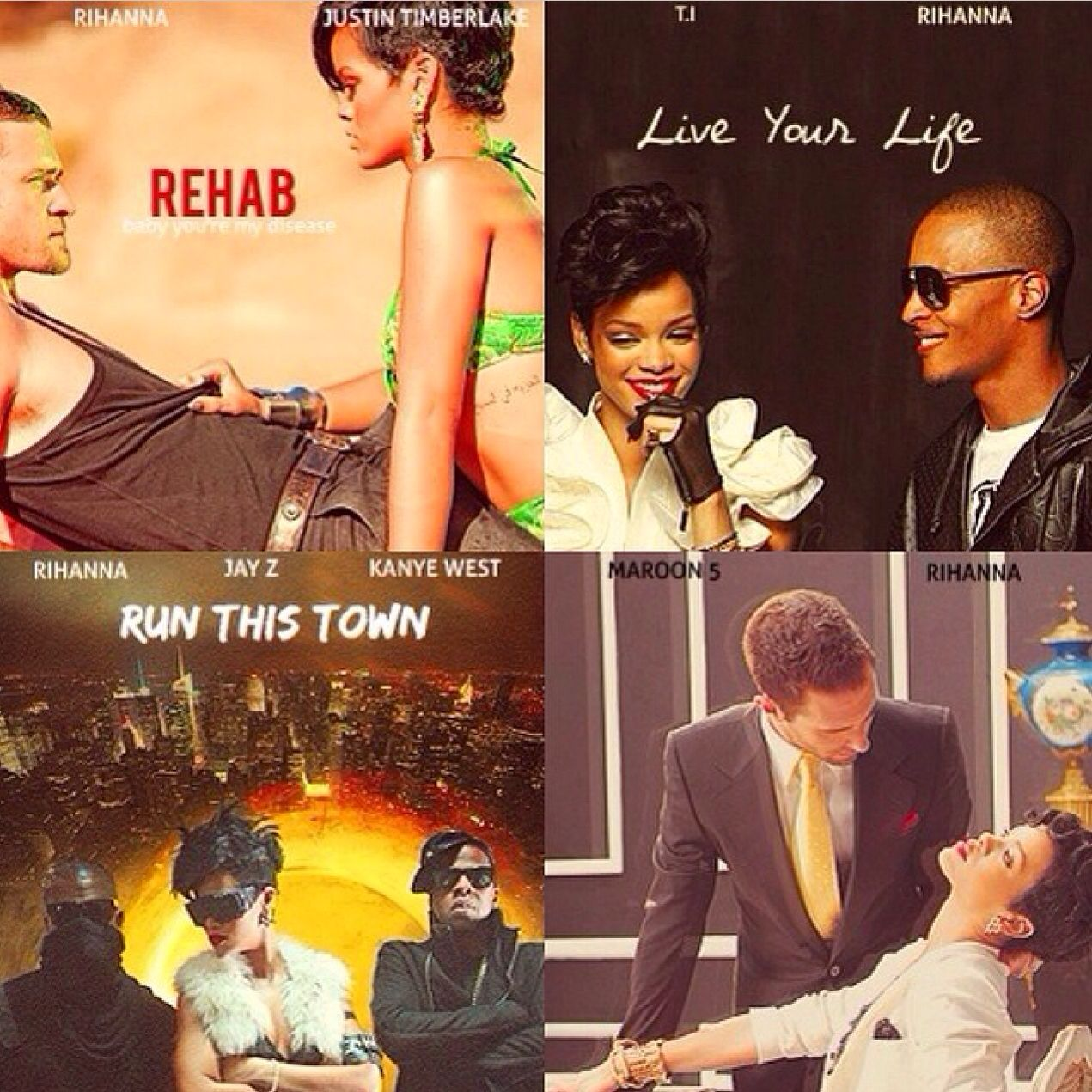 Rihanna S Duets As Movies Rehab Live Your Life Run This Town And If I Never See Your Face Again Which One Would You See Rihanna Duet Trend Setter