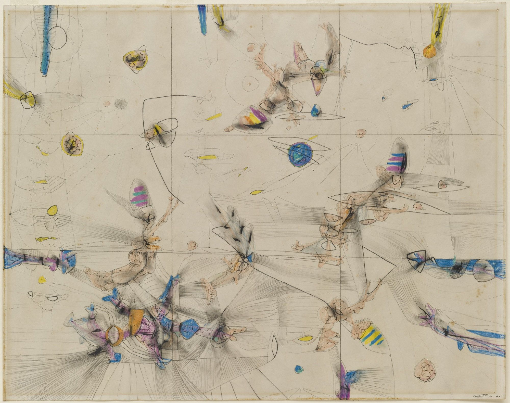 """Roberto Matta. Untitled. 1942. Crayon and pencil on paper. 19 x 24"""" (48.4 x 61.2 cm). James Thrall Soby Bequest. 197.1982. © 2016 Artists Rights Society (ARS), New York / ADAGP, Paris. Drawings and Prints"""