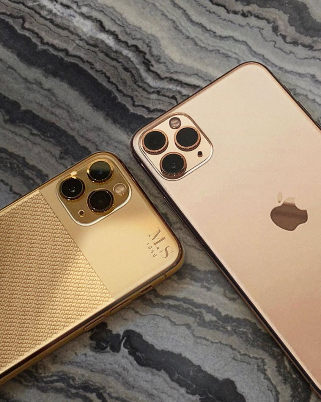 "Golden Concept on Instagram: ""#iPhone11Pro [BLK] Edition in 24k Gold customized with initials vs #iPhone11ProMax none-customized"" 4K"