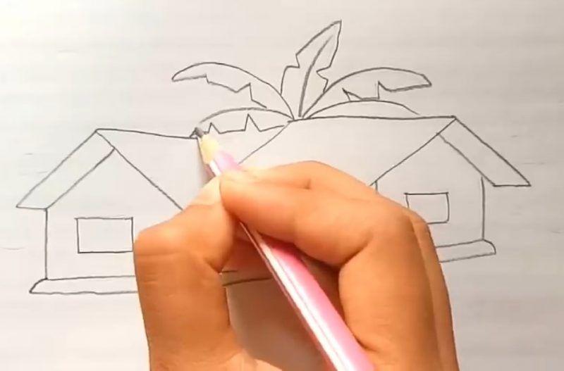 Cara Menggambar Pohon Di Belakang Rumah Okay Gesture