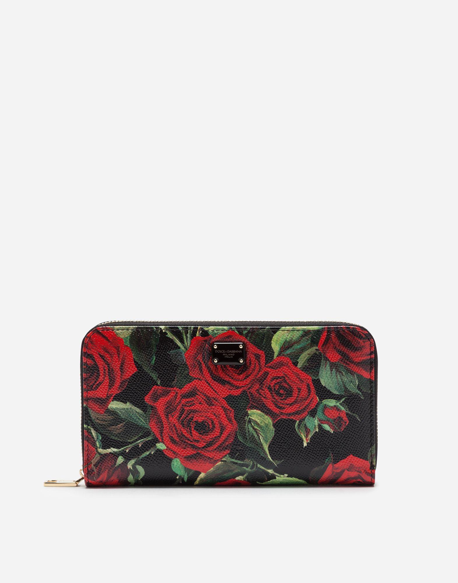 Dolce   Gabbana - Zip-around wallet in red rose-print dauphine calfskin  ( 695) d694757c091cb