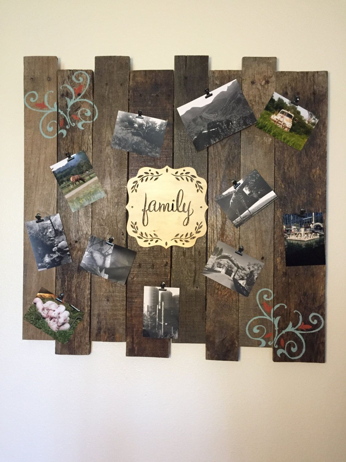 Picture Memory Board Natural Wood Decoration Wooden Wall Decor Collage Rustic Frame By Craftedsimplyinc On Etsy