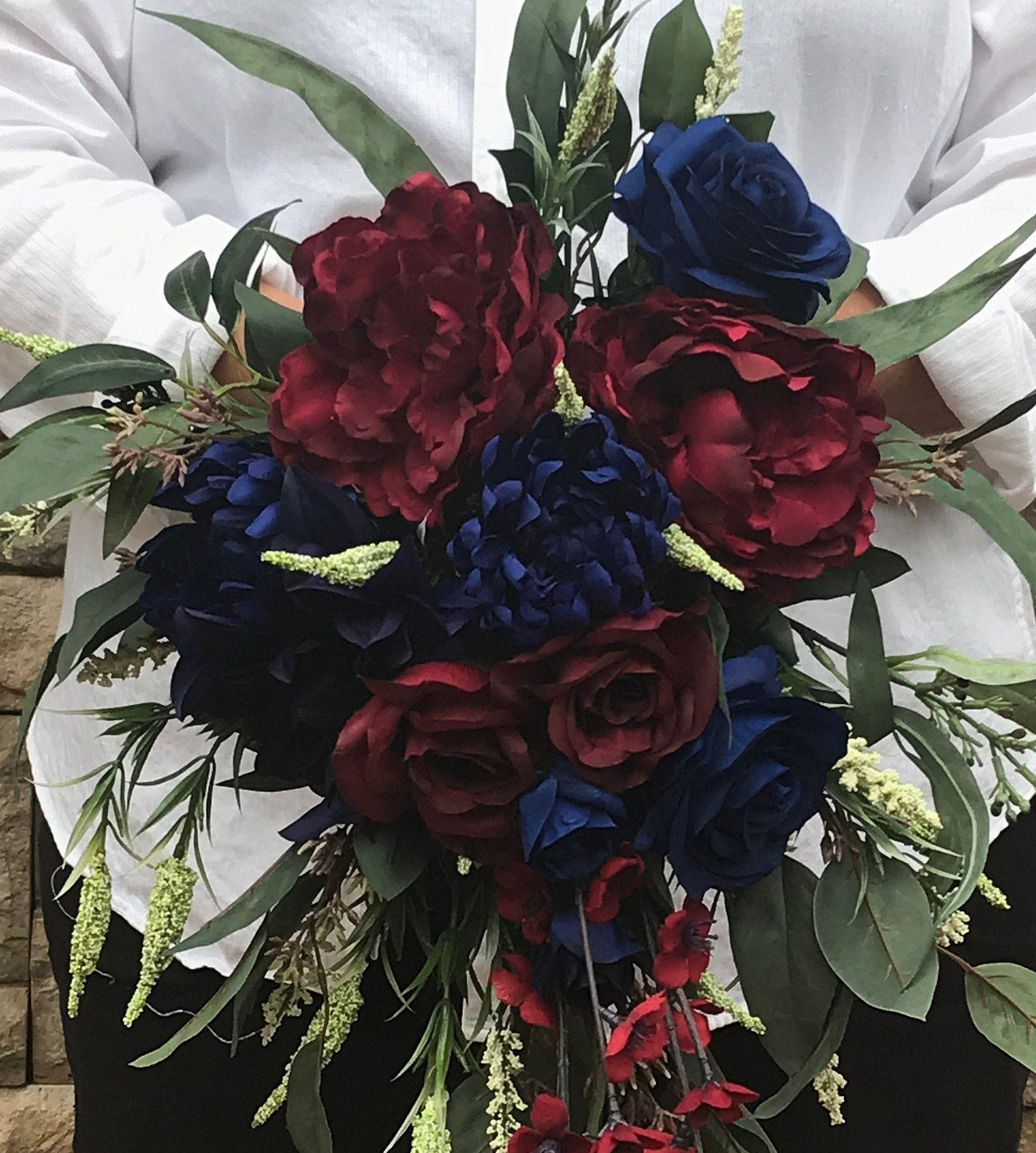 SILK WEDDING BOUQUET BURGUNDY IVORY PEONY BERRY CASCADING RUSTIC TEARDROP SET