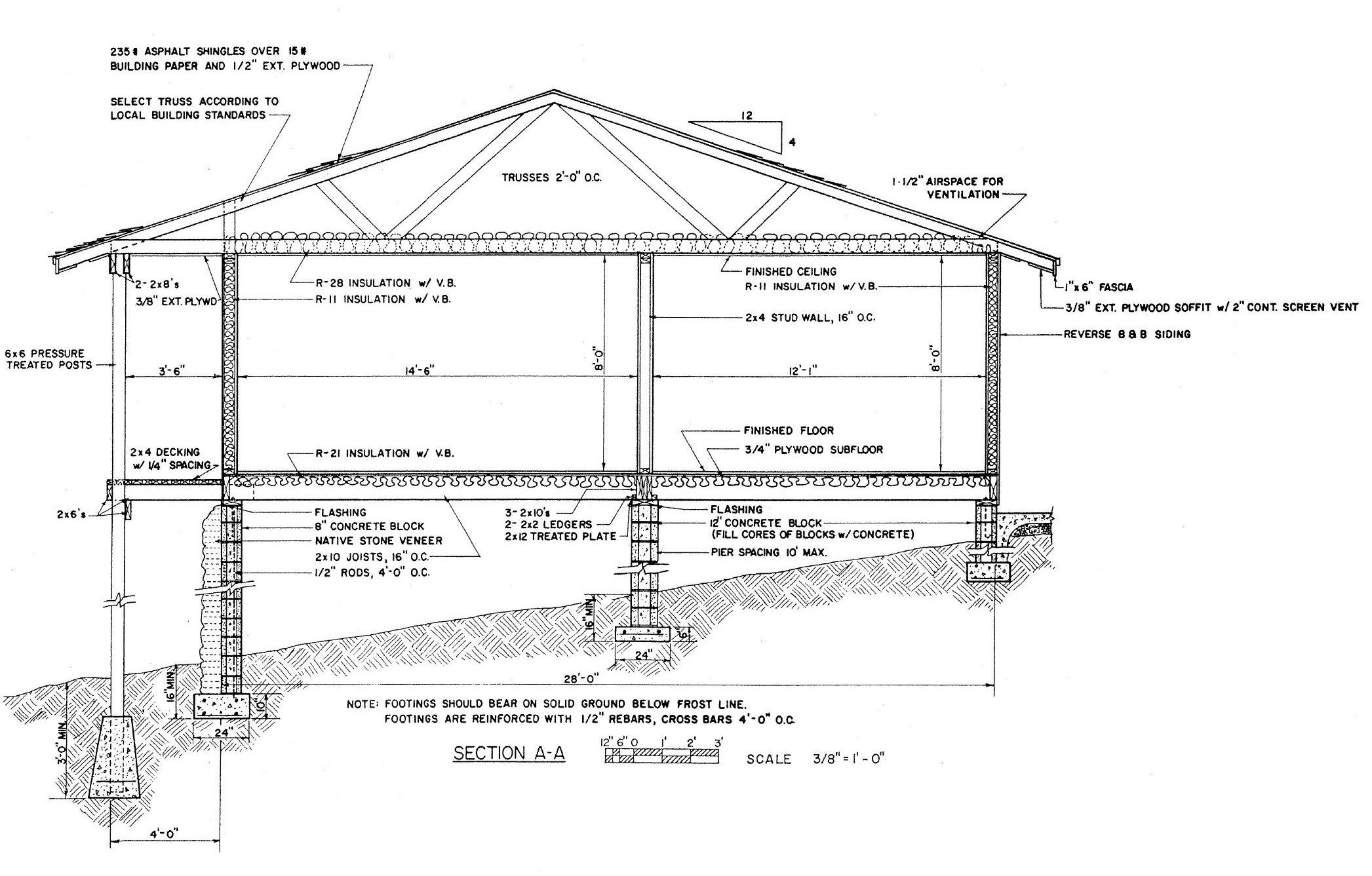 Wood wall section google search arch 206 single family for Building foundation plans
