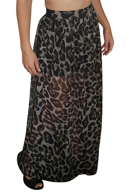 Maxi Skirt With Charcoal Black Leopard Print!