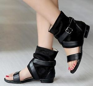 b43c81fa6823b4 Women Gladiator Roman Cross Strap Buckle Sandals Open Toe Flat Ankle Boots  Shoes