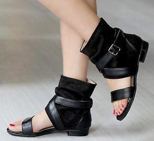 de2d751863b1 Women Gladiator Roman Cross Strap Buckle Sandals Open Toe Flat Ankle Boots  Shoes