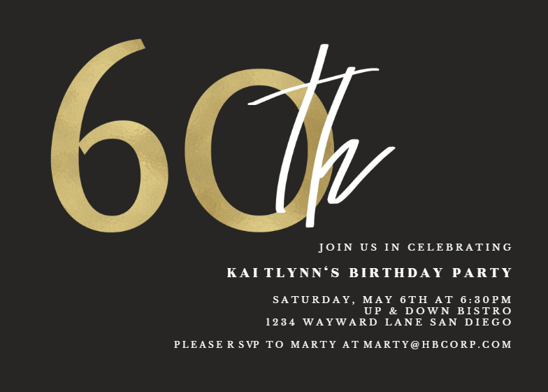 Golden Numerals 60 Birthday Invitation Template Free Greetings Island 60th Birthday Invitations Birthday Invitation Templates 80th Birthday Invitations