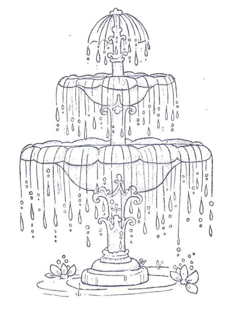 Free Printable Fountain Coloring Pages For Kids In 2021 Paper Embroidery Coloring Pages Embroidery Patterns Vintage