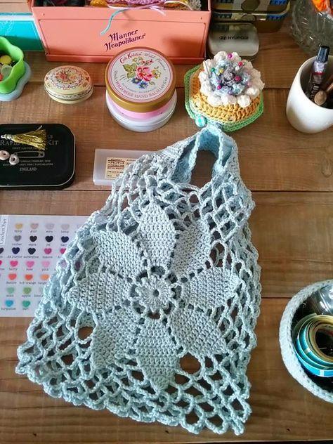 Bolsa de compras tejida al crochet | bolsos | Pinterest | Dos agujas ...
