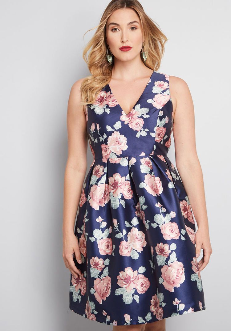 d69b6bf410 Chi Chi London Chi Chi London Sweetly Celebrated Fit and Flare Dress in Floral  Navy Floral