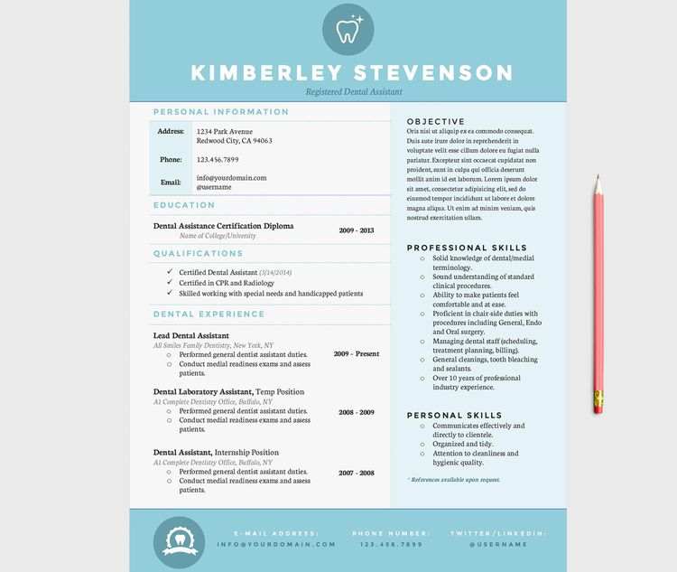 Crisp Blue Resume Template Pkg Dental and Dental hygienist
