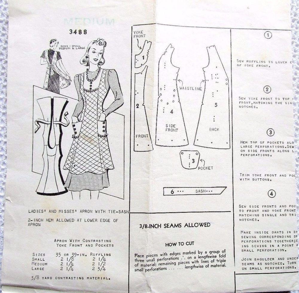 3488 MAIL ORDER SEWING PATTERN~UNPRINTED 1940s?~MISSES SZ MEDIUM~BIB ...