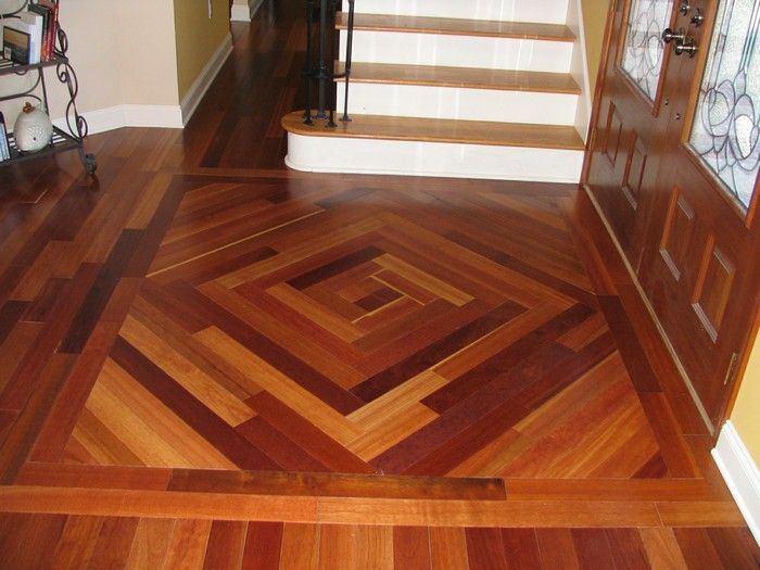 Foyer Hardwood Floors : Custom designed wood floor inlay for the entry or foyer