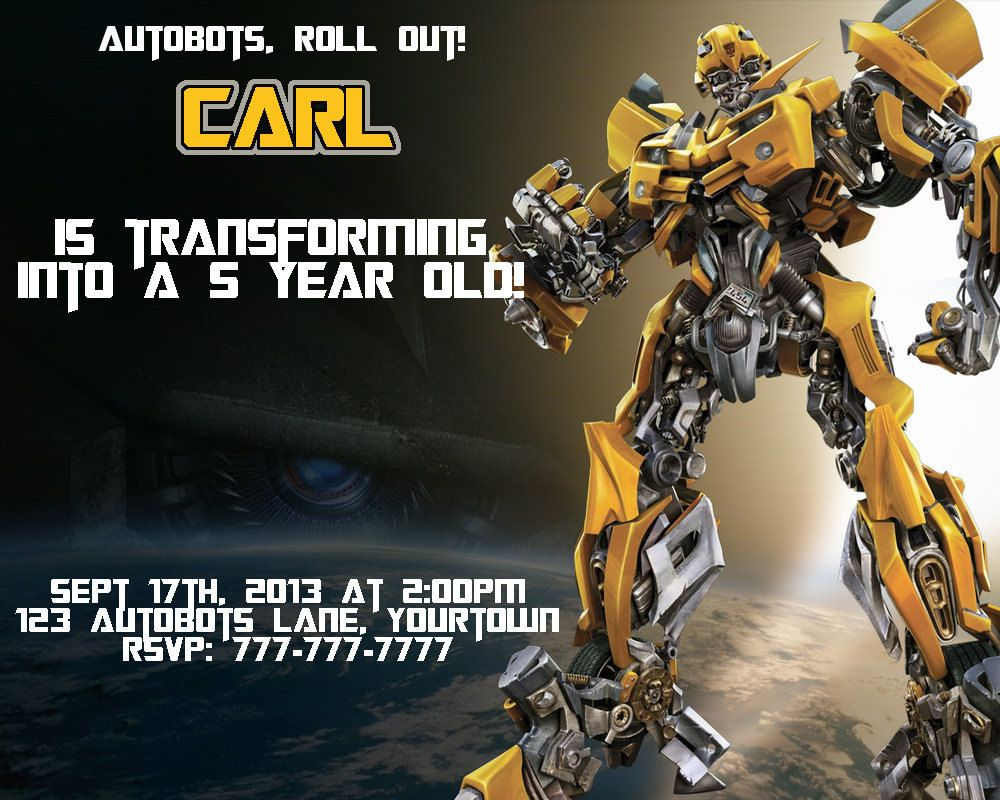 Items Similar To Transformers Bumble Bee Birthday Invitation Or Thank You Card Personaliz Transformer Birthday Happy Birthday Cards Happy Birthday Cards Images