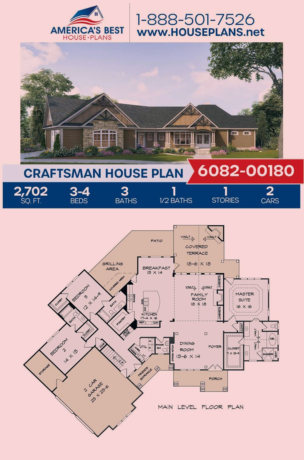 A Beautiful 1 Story Craftsman Home Design And A Family Centered Outdoor Living Area Plan 6082 00180 In 2020 Craftsman House Plan Craftsman House Plans Craftsman House