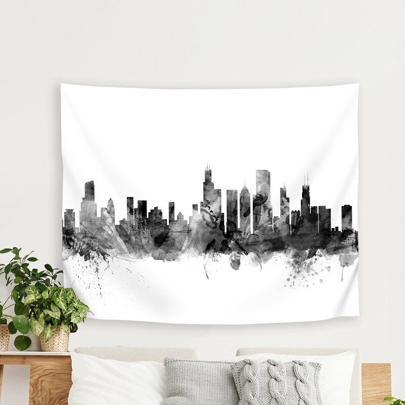 Michael Tompsett Art Pause Chicago Illinois Skyline New 1 Tapestry Tapestry Room Tapestry Nyc Apartment Decorating